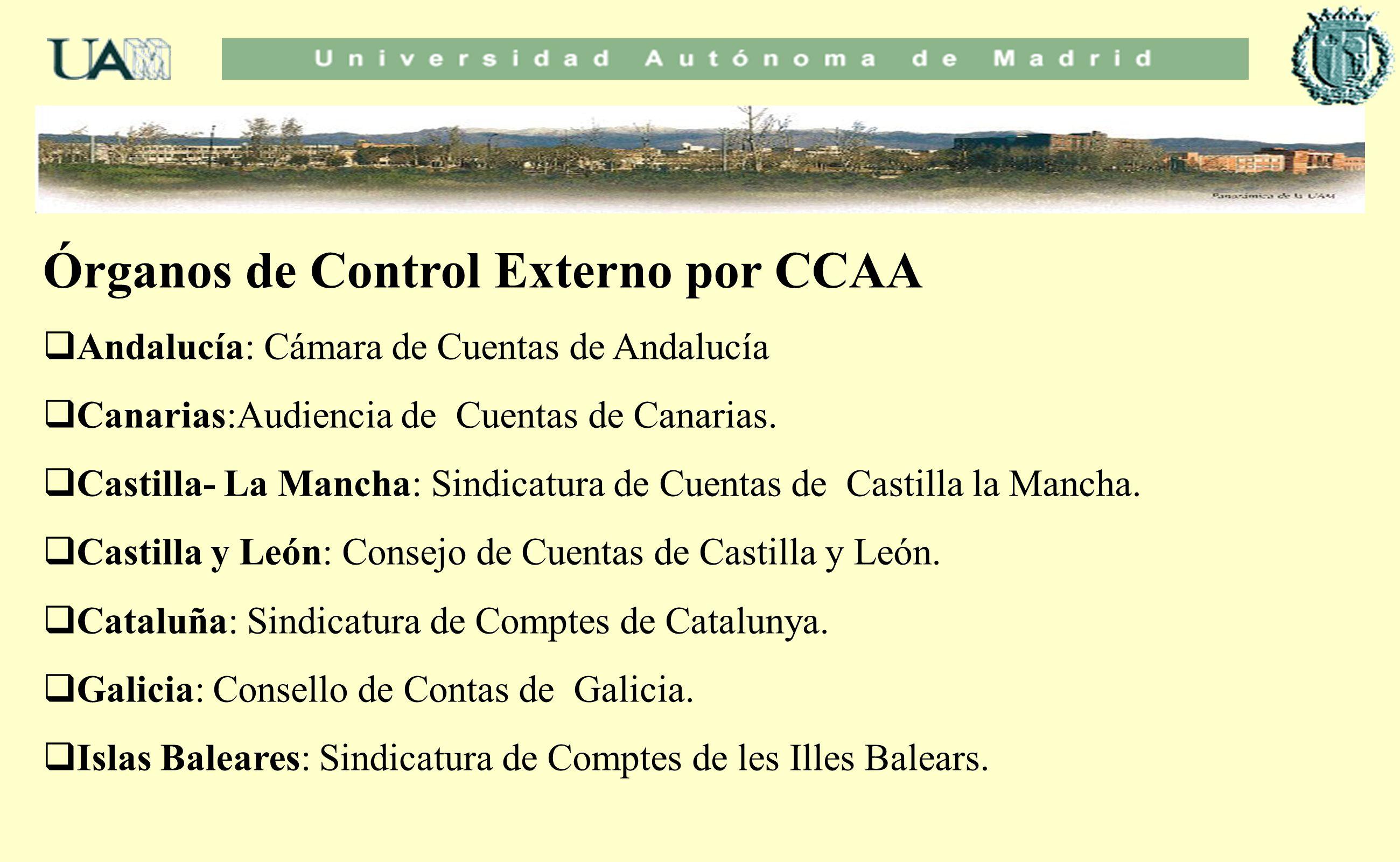 Órganos de Control Externo por CCAA Andalucía: Cámara de Cuentas de Andalucía Canarias:Audiencia de Cuentas de Canarias. Castilla- La Mancha: Sindicat