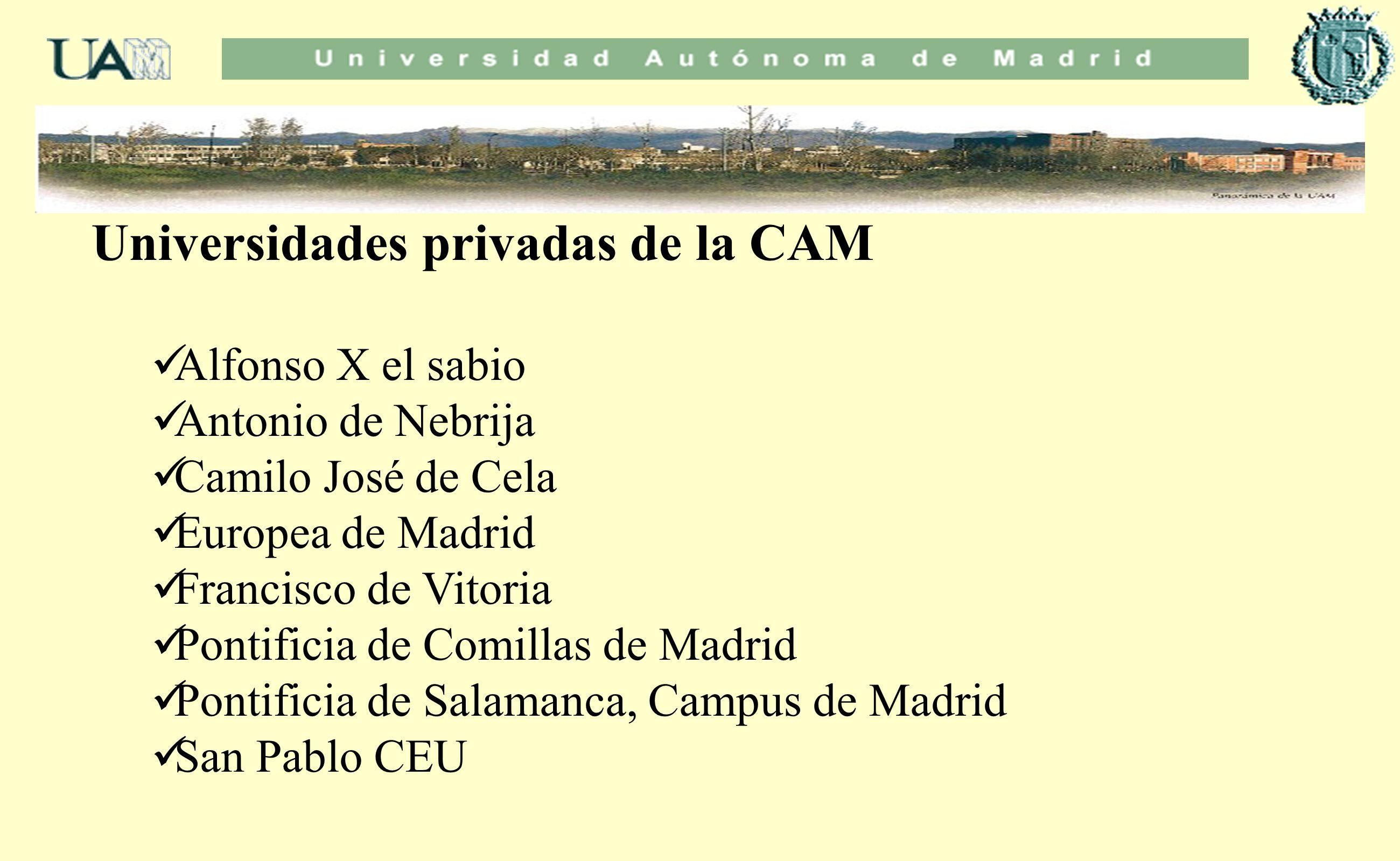 Universidades privadas de la CAM Alfonso X el sabio Antonio de Nebrija Camilo José de Cela Europea de Madrid Francisco de Vitoria Pontificia de Comill