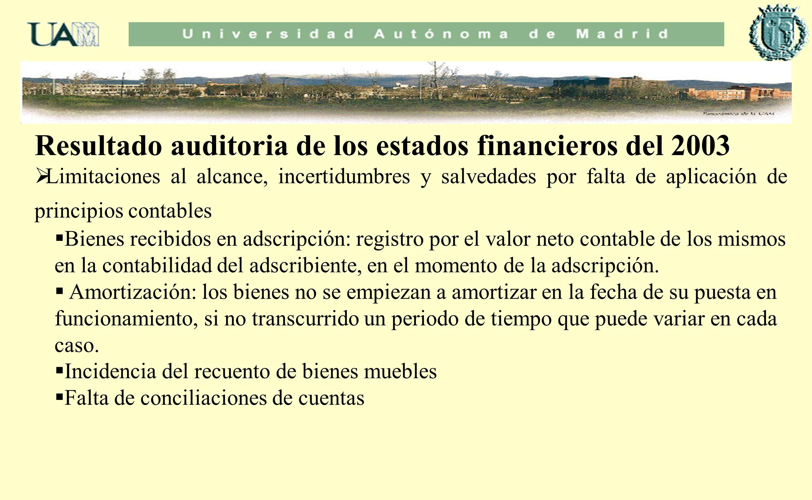 Resultado auditoria de los estados financieros del 2003 Limitaciones al alcance, incertidumbres y salvedades por falta de aplicación de principios con