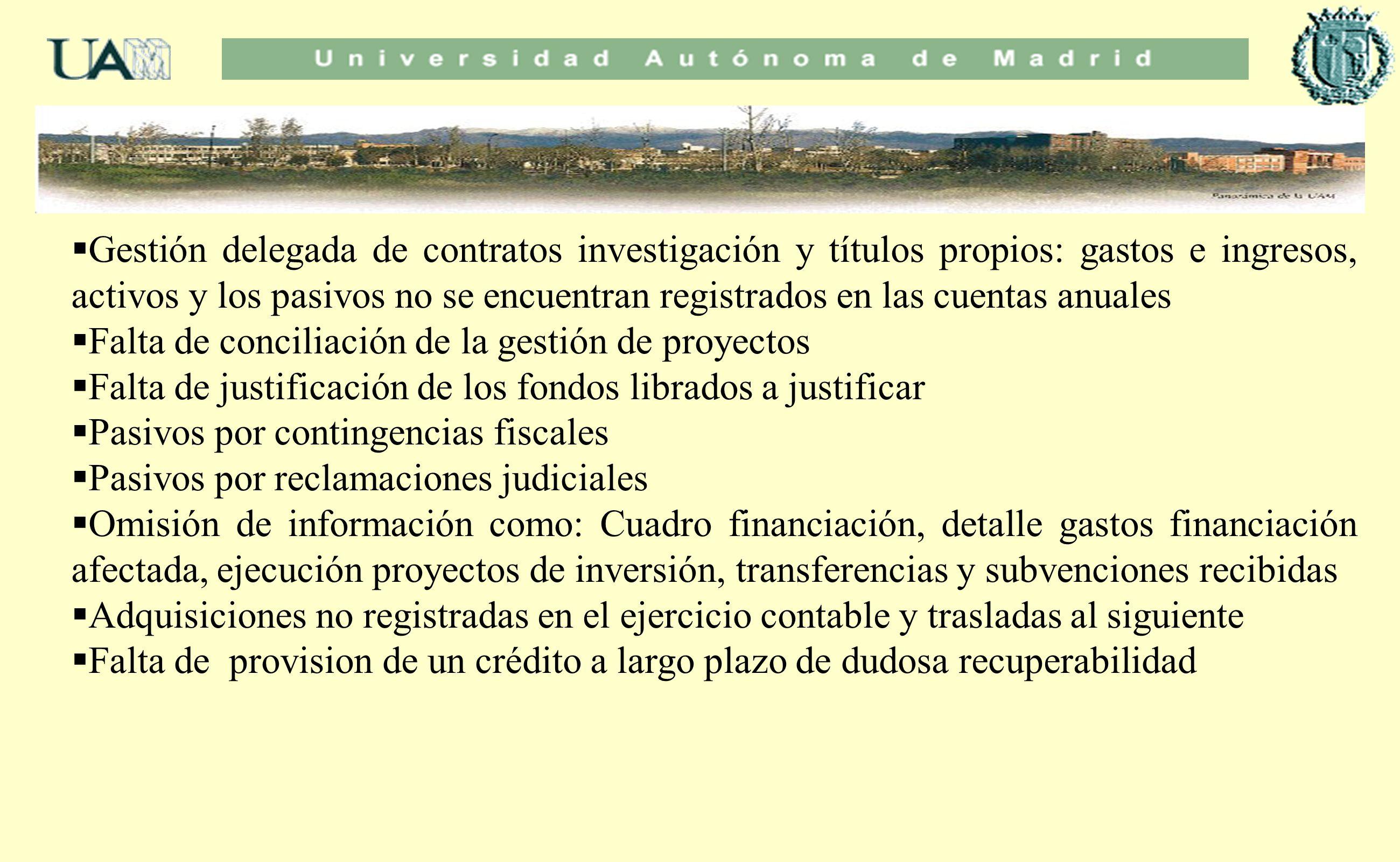 Gestión delegada de contratos investigación y títulos propios: gastos e ingresos, activos y los pasivos no se encuentran registrados en las cuentas an