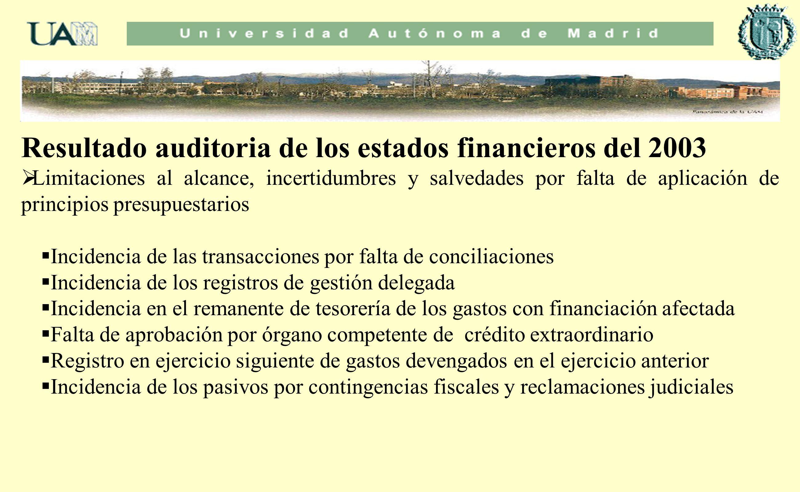 Resultado auditoria de los estados financieros del 2003 Limitaciones al alcance, incertidumbres y salvedades por falta de aplicación de principios pre