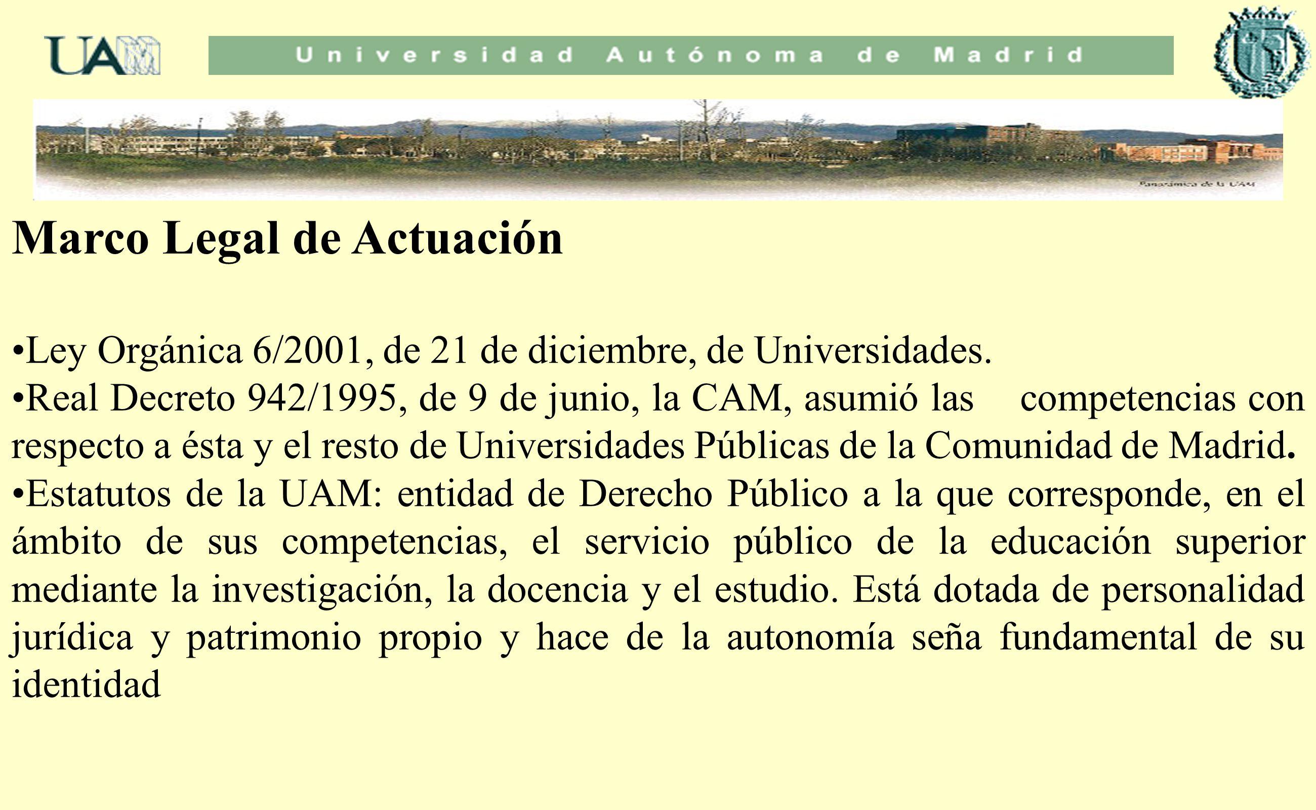 Marco Legal de Actuación Ley Orgánica 6/2001, de 21 de diciembre, de Universidades. Real Decreto 942/1995, de 9 de junio, la CAM, asumió las competenc