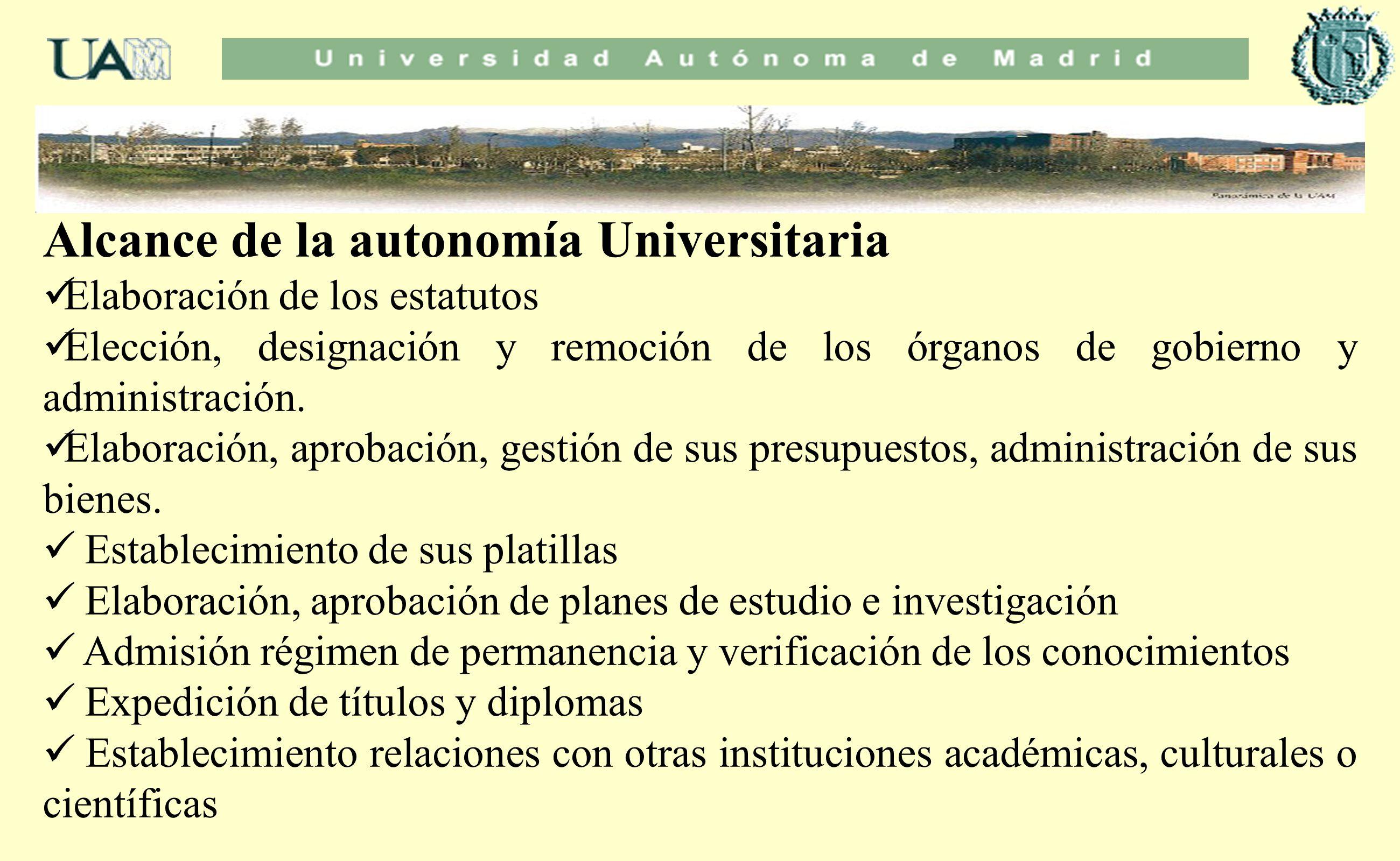 Alcance de la autonomía Universitaria Elaboración de los estatutos Elección, designación y remoción de los órganos de gobierno y administración. Elabo