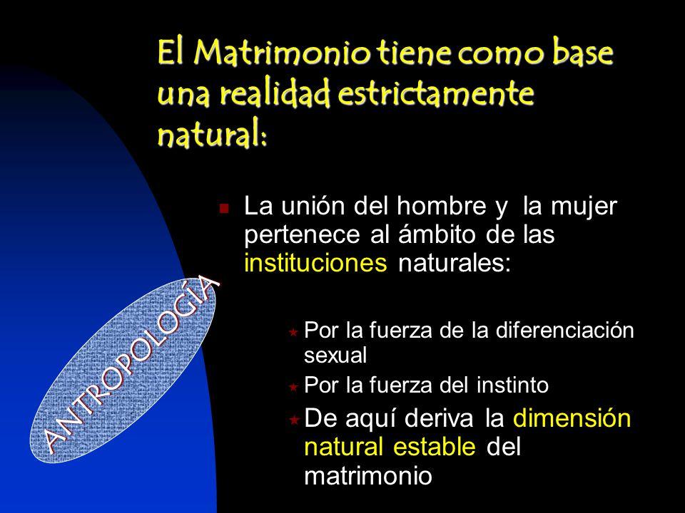La unión del hombre y la mujer pertenece al ámbito de las instituciones naturales: Por la fuerza de la diferenciación sexual Por la fuerza del instint