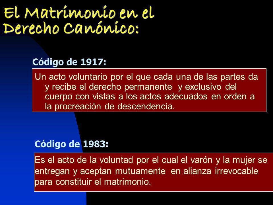 El Matrimonio en el Derecho Canónico: Un acto voluntario por el que cada una de las partes da y recibe el derecho permanente y exclusivo del cuerpo con vistas a los actos adecuados en orden a la procreación de descendencia.