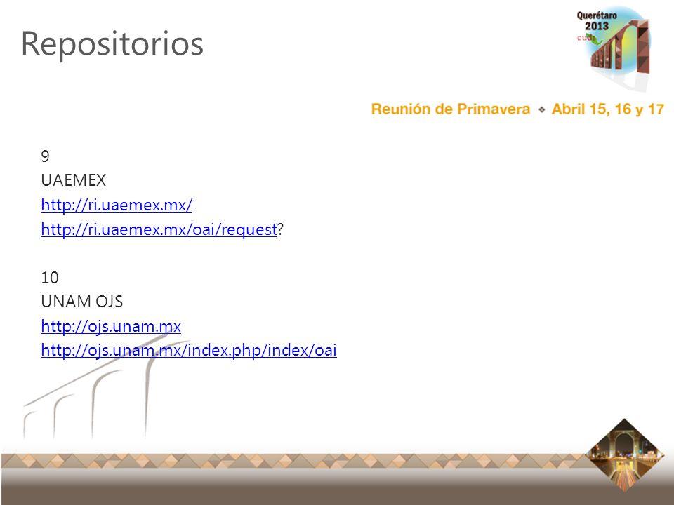Reunión Primavera 2012 Ensenada, Baja California Repositorios 9 UAEMEX http://ri.uaemex.mx/ http://ri.uaemex.mx/oai/requesthttp://ri.uaemex.mx/oai/req
