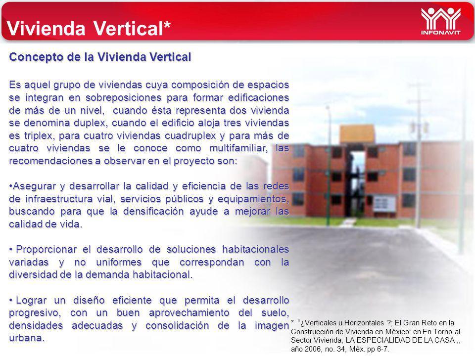 INFONAVIT Concepto de la Vivienda Vertical Es aquel grupo de viviendas cuya composición de espacios se integran en sobreposiciones para formar edifica