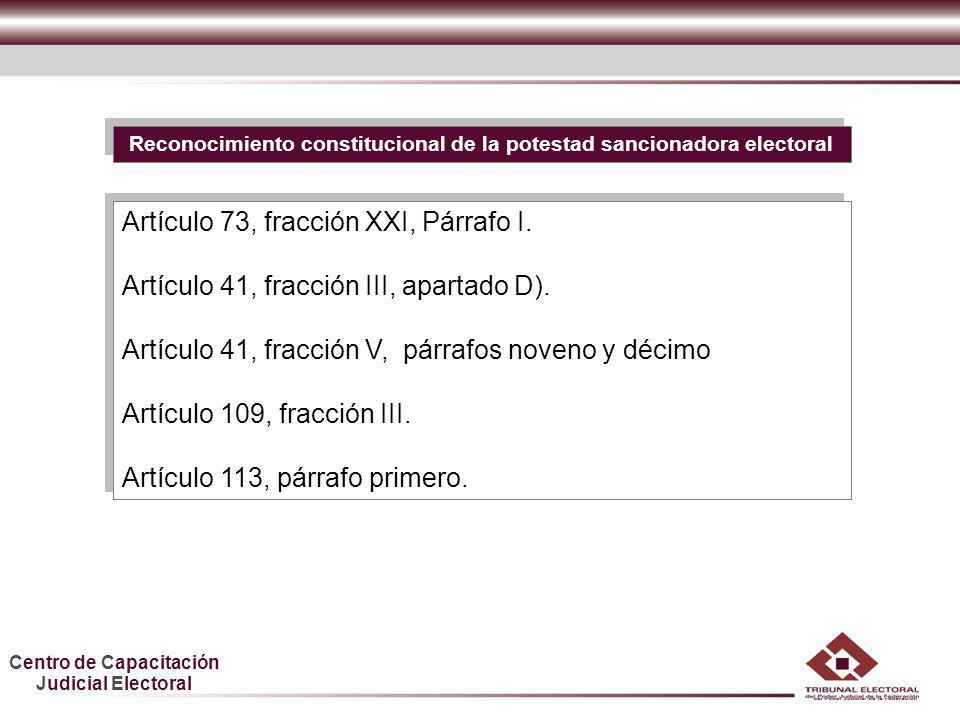 Centro de Capacitación Judicial Electoral HDGF Reconocimiento constitucional de la potestad sancionadora electoral Artículo 73, fracción XXI, Párrafo