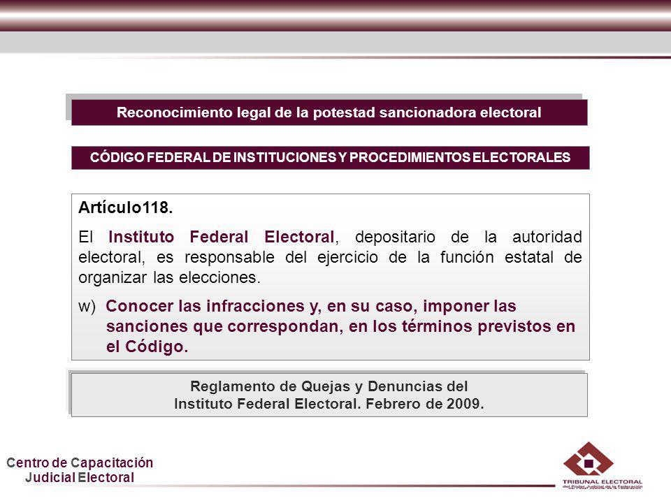 Centro de Capacitación Judicial Electoral HDGF Reconocimiento legal de la potestad sancionadora electoral CÓDIGO FEDERAL DE INSTITUCIONES Y PROCEDIMIE