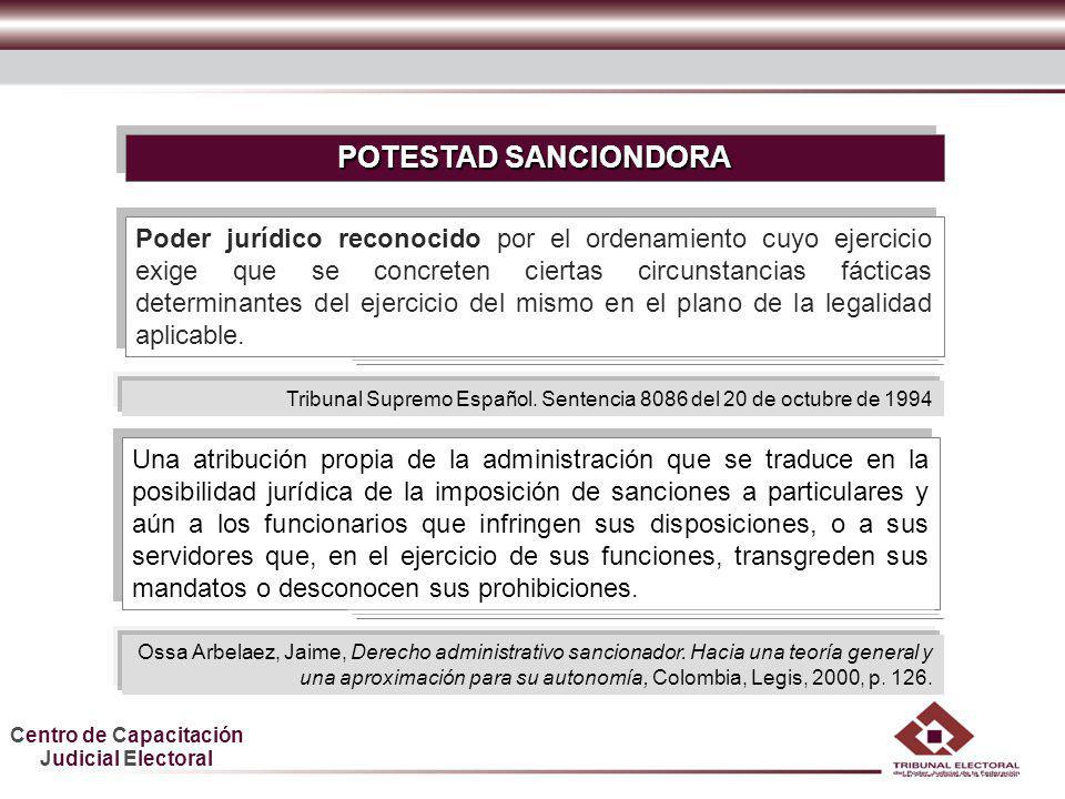 Centro de Capacitación Judicial Electoral HDGF POTESTAD SANCIONADORA integrada por un haz de facultades La potestad sancionadora está integrada por un haz de facultades básicas, a saber: la del establecimiento, la de la imposición y la de la ejecución.