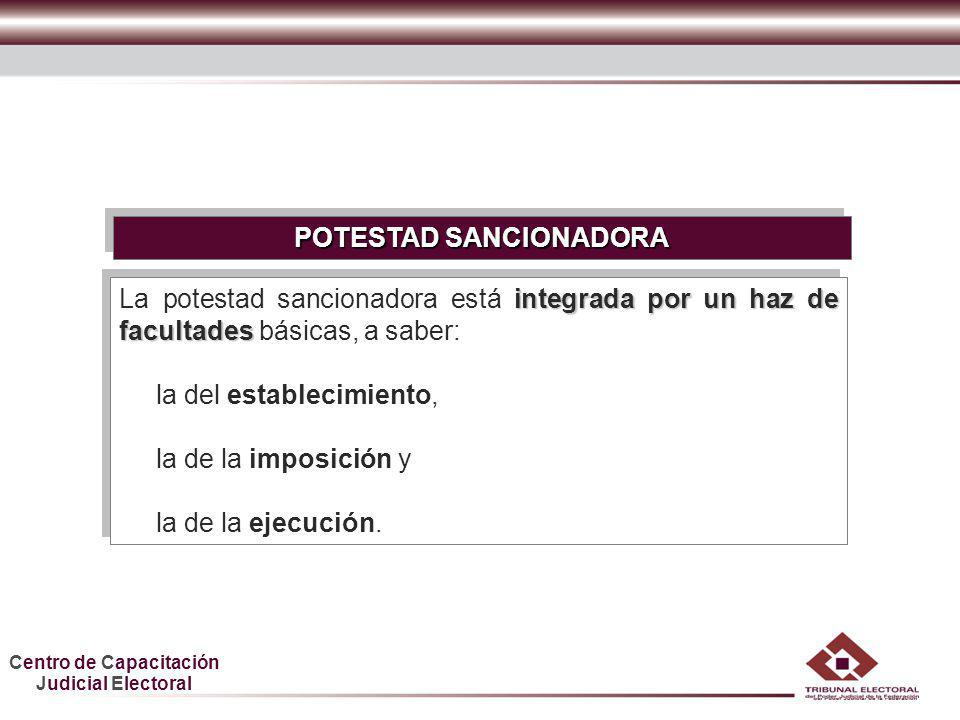 Centro de Capacitación Judicial Electoral HDGF POTESTAD SANCIONADORA integrada por un haz de facultades La potestad sancionadora está integrada por un