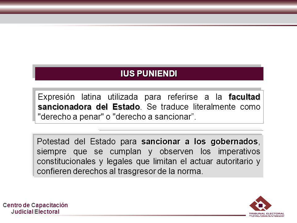 Centro de Capacitación Judicial Electoral HDGF IUS PUNIENDI sancionar a los gobernados Potestad del Estado para sancionar a los gobernados, siempre qu