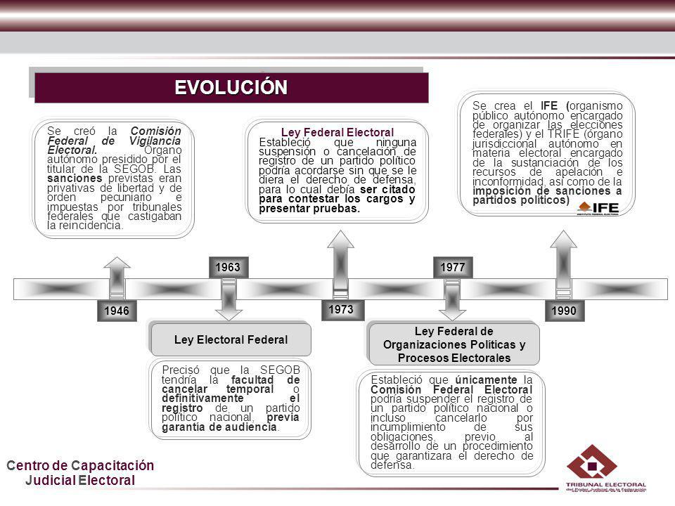 Centro de Capacitación Judicial Electoral HDGF En 1996 se confirió competencia al Instituto Federal Electoral para tramitar, sustanciar y resolver procedimientos administrativos e imponer sanciones a partidos políticos nacionales.