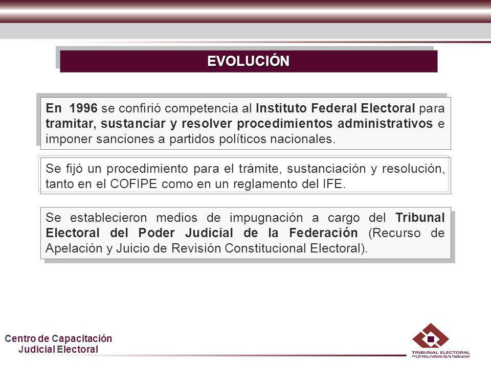 Centro de Capacitación Judicial Electoral HDGF En 1996 se confirió competencia al Instituto Federal Electoral para tramitar, sustanciar y resolver pro