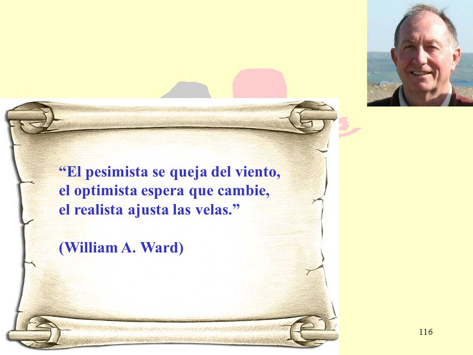 116 El pesimista se queja del viento, el optimista espera que cambie, el realista ajusta las velas. (William A. Ward)