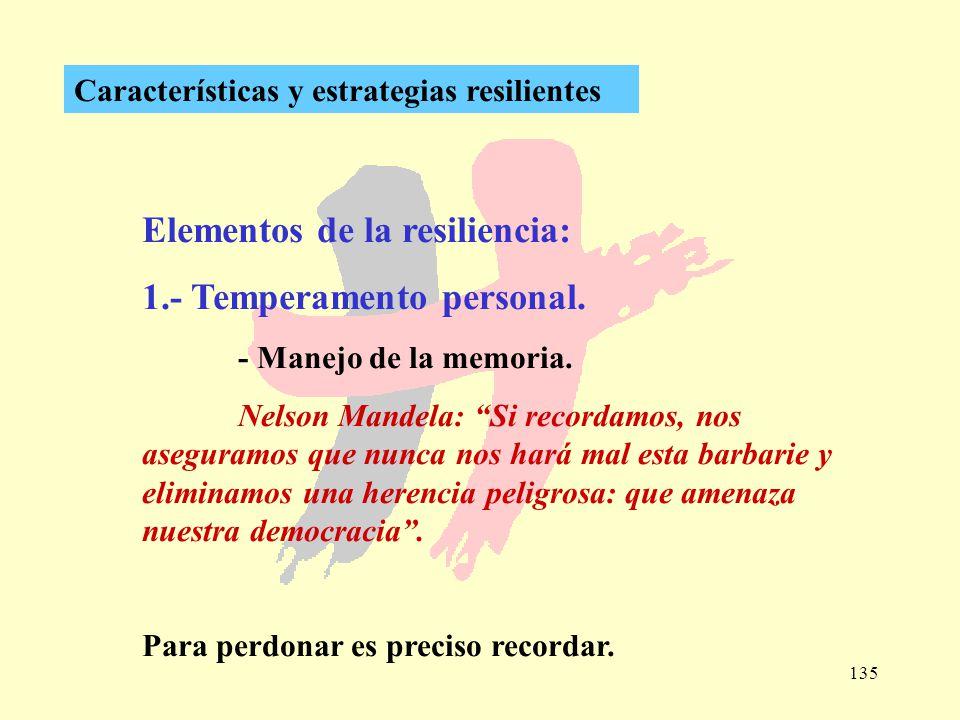 135 Características y estrategias resilientes Elementos de la resiliencia: 1.- Temperamento personal. - Manejo de la memoria. Nelson Mandela: Si recor