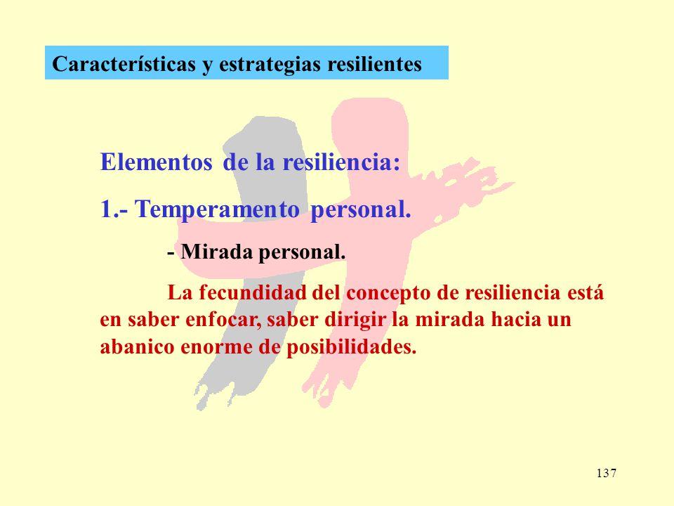 137 Características y estrategias resilientes Elementos de la resiliencia: 1.- Temperamento personal. - Mirada personal. La fecundidad del concepto de