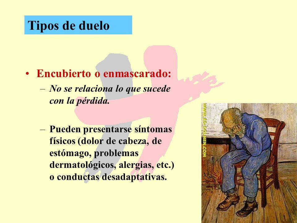 20 Encubierto o enmascarado: –No se relaciona lo que sucede con la pérdida. –Pueden presentarse síntomas físicos (dolor de cabeza, de estómago, proble