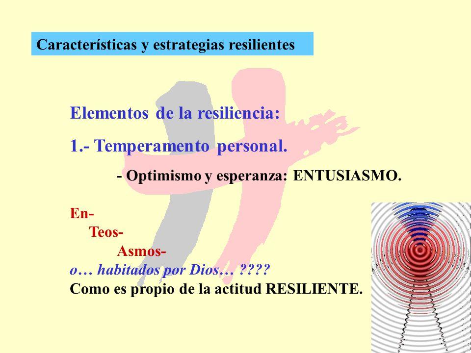 263 Características y estrategias resilientes Elementos de la resiliencia: 1.- Temperamento personal. - Optimismo y esperanza: ENTUSIASMO. En- Teos- A