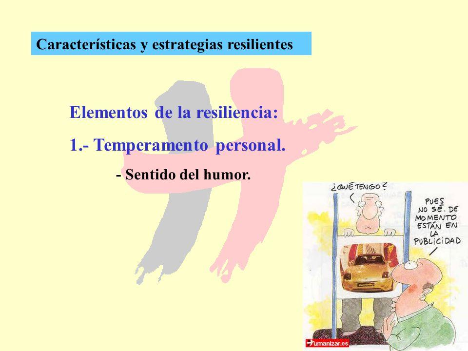 264 Características y estrategias resilientes Elementos de la resiliencia: 1.- Temperamento personal. - Sentido del humor.