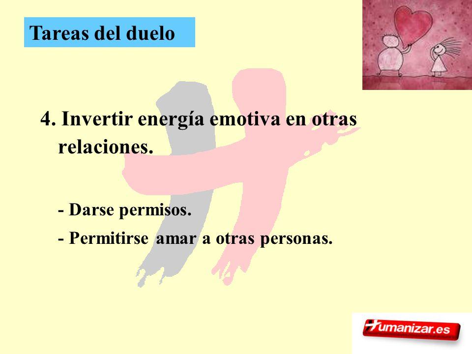 29 4. Invertir energía emotiva en otras relaciones. - Darse permisos. - Permitirse amar a otras personas. Tareas del duelo