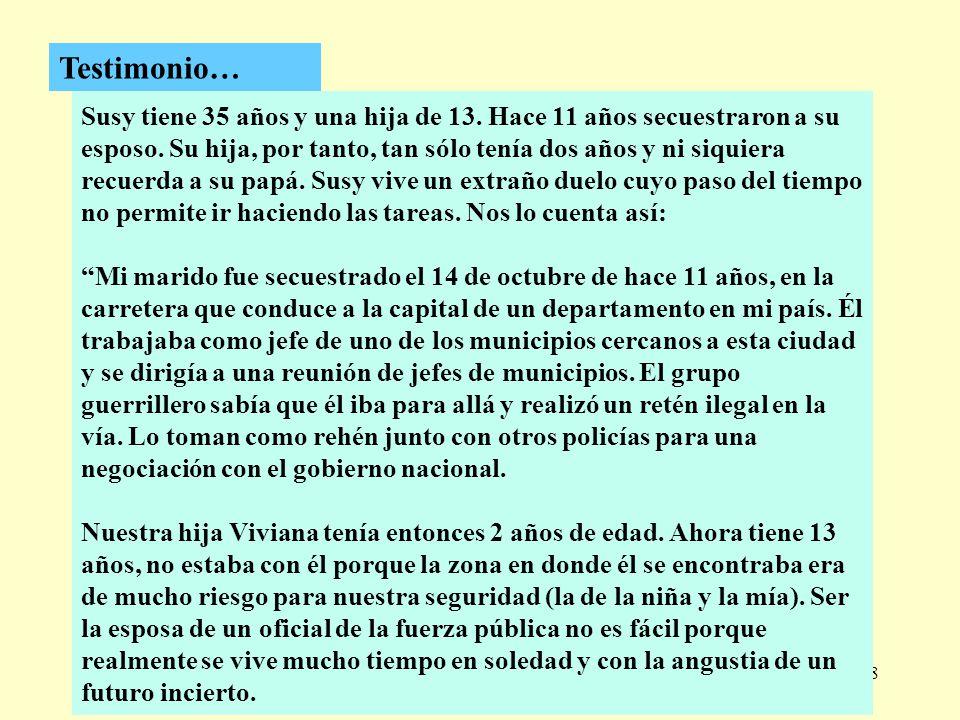 298 Testimonio… Susy tiene 35 años y una hija de 13. Hace 11 años secuestraron a su esposo. Su hija, por tanto, tan sólo tenía dos años y ni siquiera