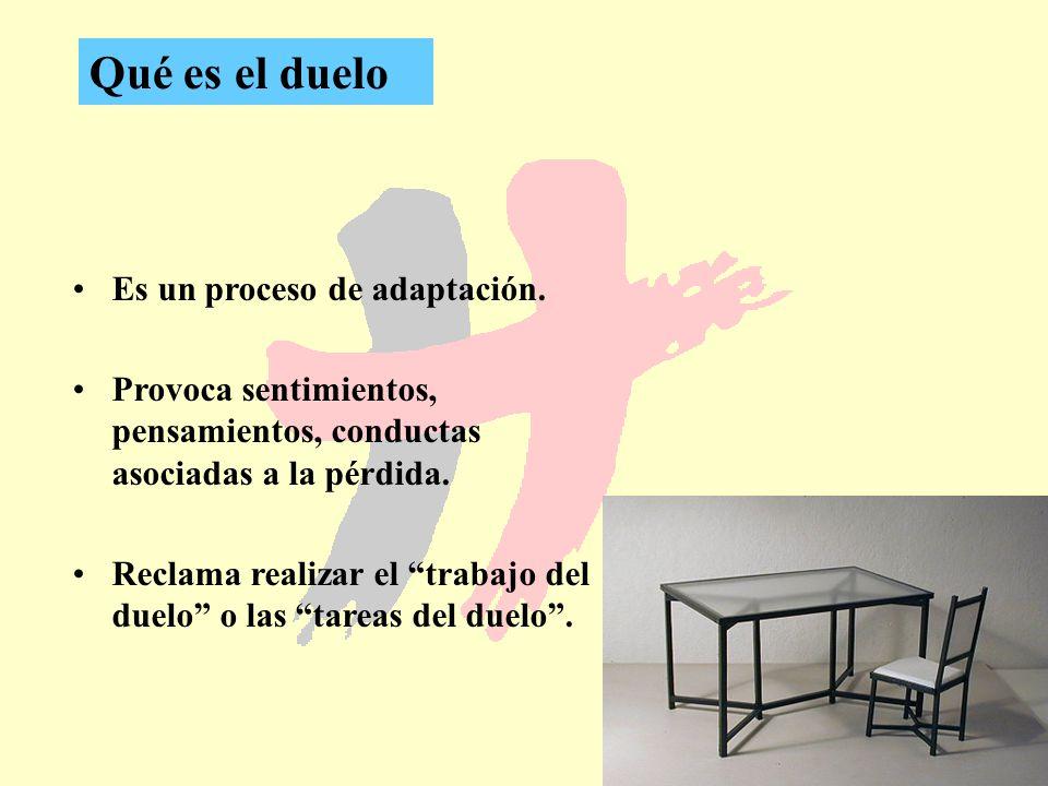 7 Qué es el duelo Es un proceso de adaptación. Provoca sentimientos, pensamientos, conductas asociadas a la pérdida. Reclama realizar el trabajo del d