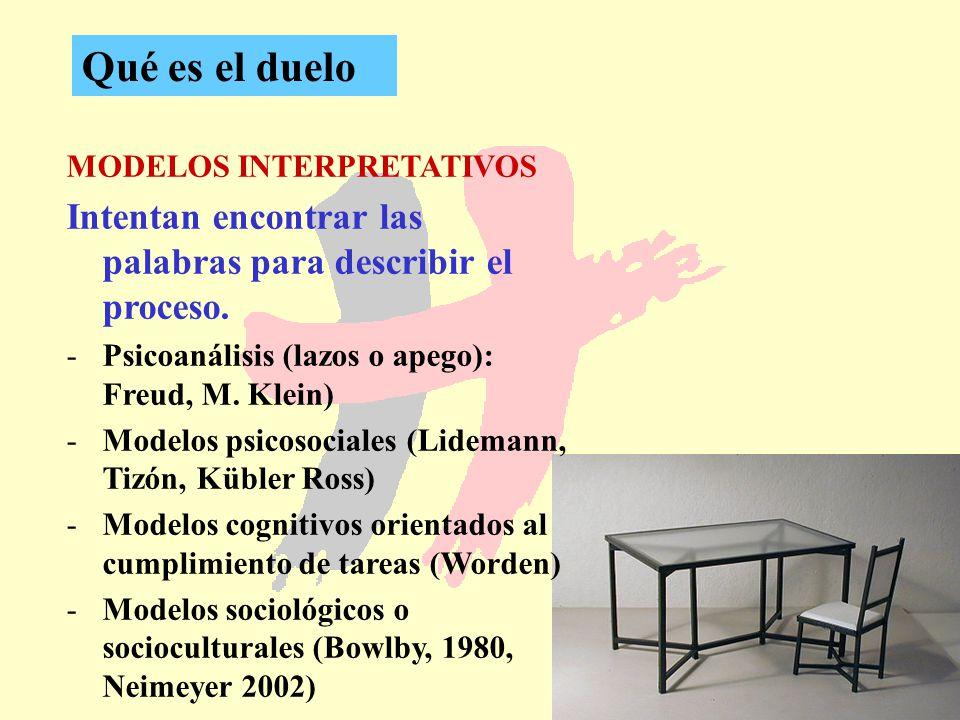 8 Qué es el duelo MODELOS INTERPRETATIVOS Intentan encontrar las palabras para describir el proceso. -Psicoanálisis (lazos o apego): Freud, M. Klein)