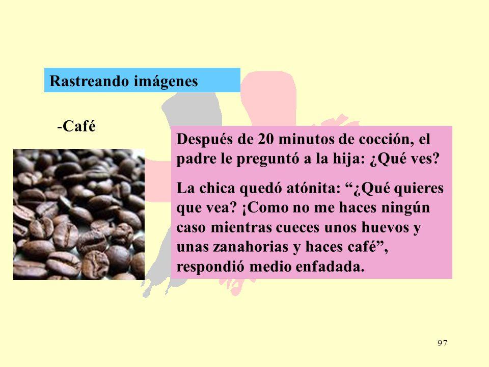 97 -Café Rastreando imágenes Después de 20 minutos de cocción, el padre le preguntó a la hija: ¿Qué ves? La chica quedó atónita: ¿Qué quieres que vea?