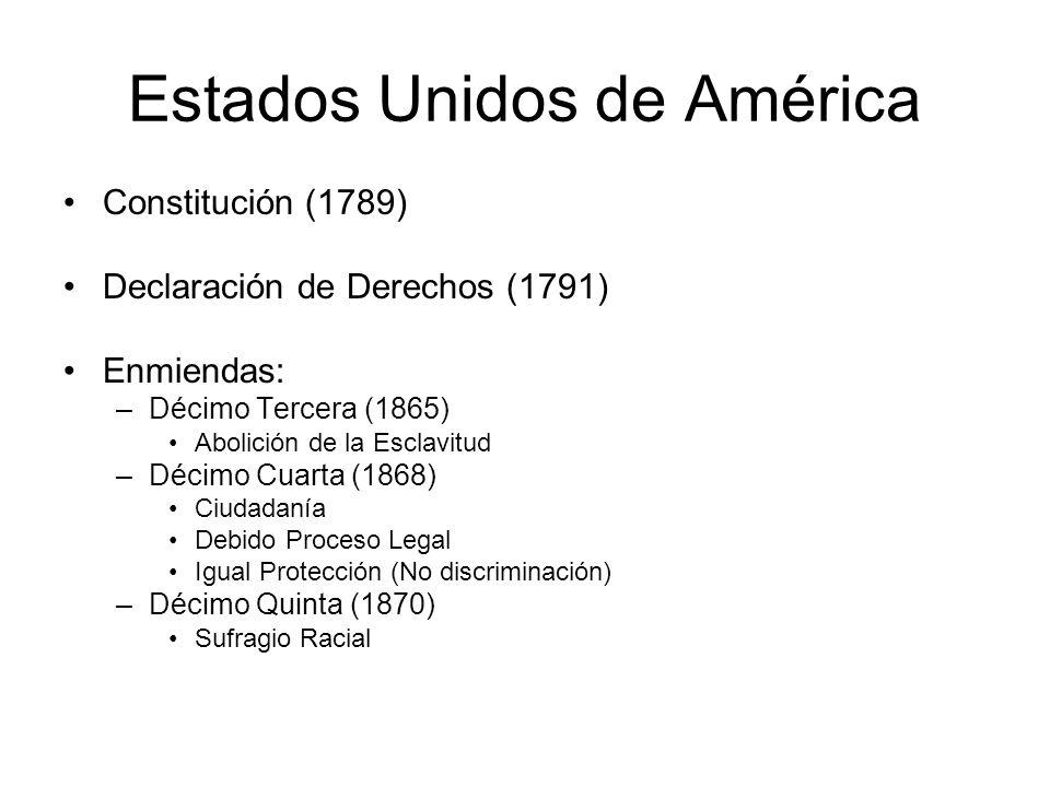 Estados Unidos de América Constitución (1789) Declaración de Derechos (1791) Enmiendas: –Décimo Tercera (1865) Abolición de la Esclavitud –Décimo Cuarta (1868) Ciudadanía Debido Proceso Legal Igual Protección (No discriminación) –Décimo Quinta (1870) Sufragio Racial