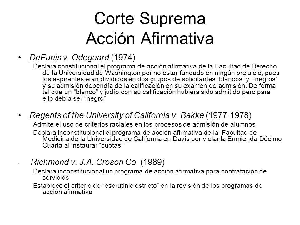 Corte Suprema Acción Afirmativa DeFunis v. Odegaard (1974) Declara constitucional el programa de acción afirmativa de la Facultad de Derecho de la Uni