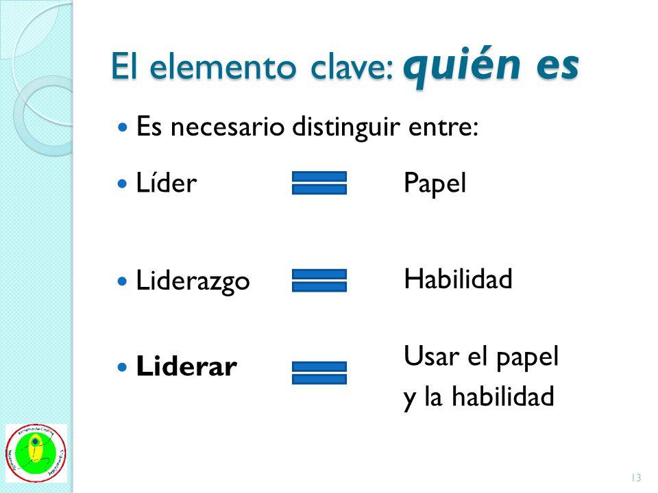 El elemento clave: quién es Es necesario distinguir entre: Líder Liderazgo Liderar Papel Habilidad Usar el papel y la habilidad 13