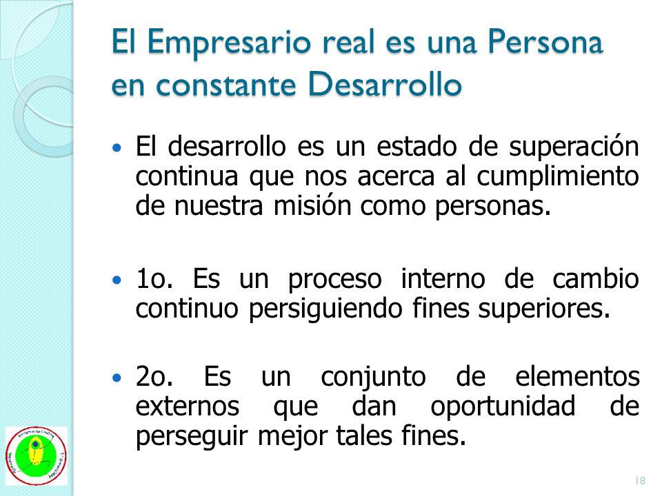 El Empresario real es una Persona en constante Desarrollo El desarrollo es un estado de superación continua que nos acerca al cumplimiento de nuestra