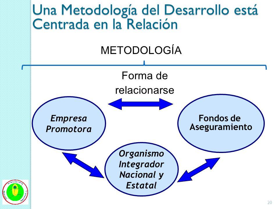 Una Metodología del Desarrollo está Centrada en la Relación Empresa Promotora Fondos de Aseguramiento METODOLOGÍA Forma de relacionarse Organismo Integrador Nacional y Estatal 20
