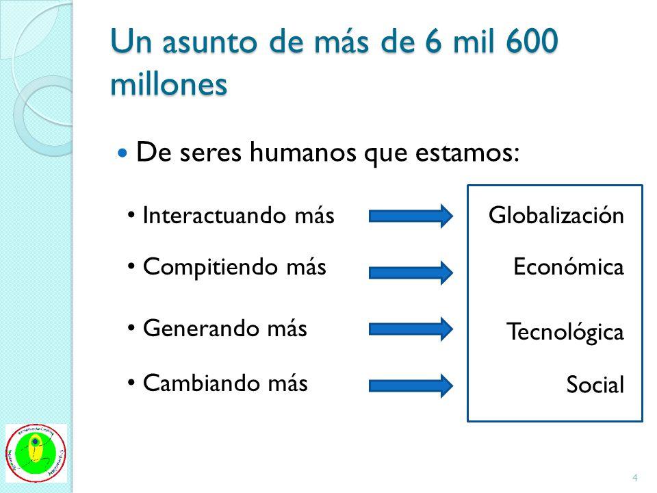 Un asunto de más de 6 mil 600 millones De seres humanos que estamos: Interactuando másGlobalización Compitiendo másEconómica Generando más Tecnológica Cambiando más Social 4