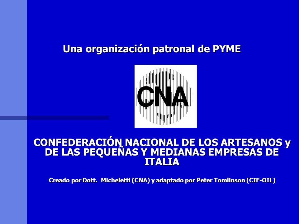 Una organización patronal de PYME CONFEDERACIÓN NACIONAL DE LOS ARTESANOS y DE LAS PEQUEÑAS Y MEDIANAS EMPRESAS DE ITALIA Creado por Dott. Micheletti