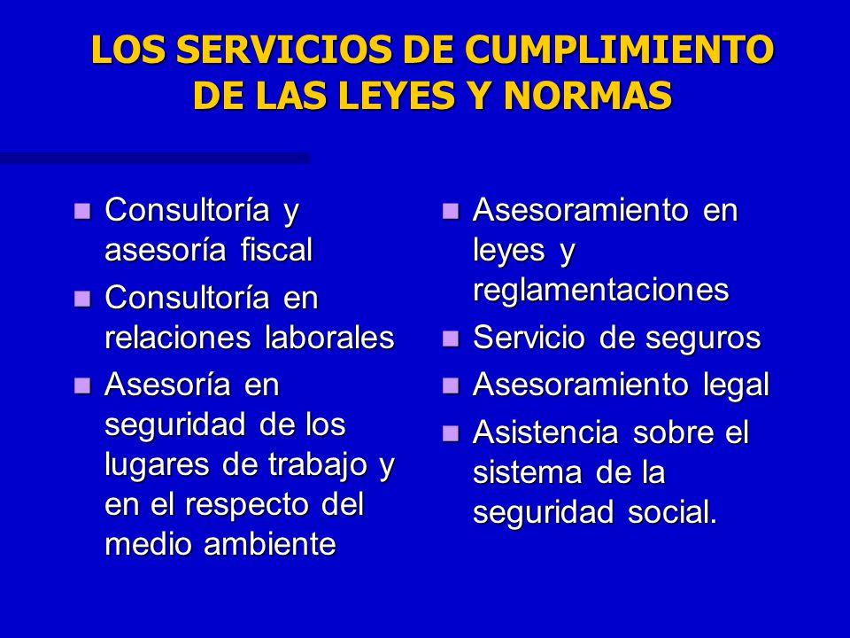 LOS SERVICIOS DE CUMPLIMIENTO DE LAS LEYES Y NORMAS Consultoría y asesoría fiscal Consultoría y asesoría fiscal Consultoría en relaciones laborales Co