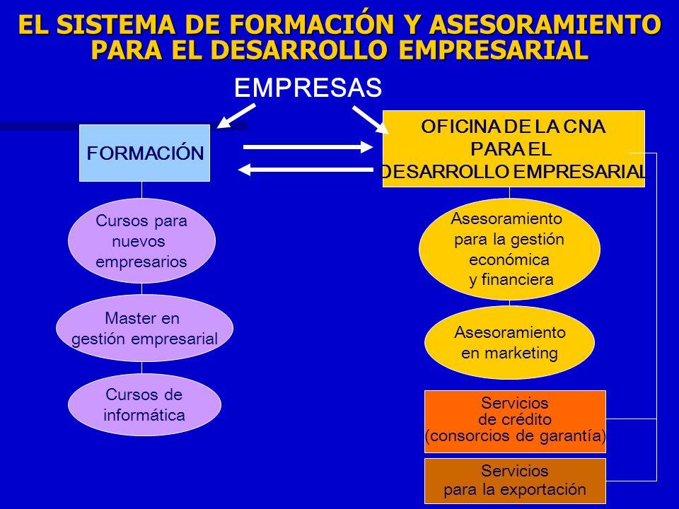 EL SISTEMA DE FORMACIÓN Y ASESORAMIENTO PARA EL DESARROLLO EMPRESARIAL FORMACIÓN OFICINA DE LA CNA PARA EL DESARROLLO EMPRESARIAL Servicios de crédito