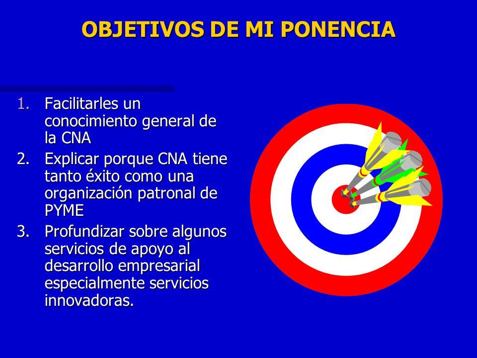 OBJETIVOS DE MI PONENCIA 1.Facilitarles un conocimiento general de la CNA 2.Explicar porque CNA tiene tanto éxito como una organización patronal de PY