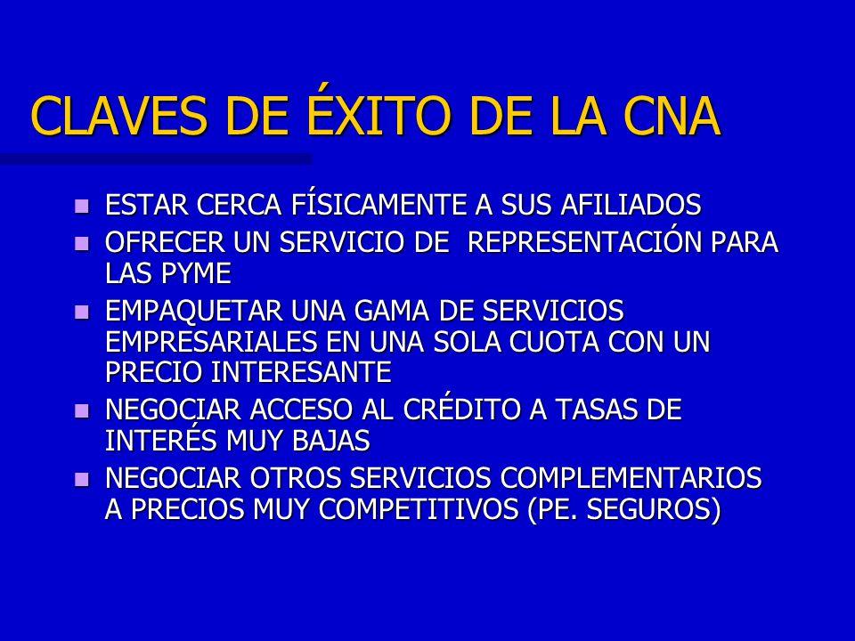 LA MISIÓN DE LA CNA ES: CNA contribuye al crecimiento económico y al progreso social del País por medio del desarrollo y la calificación de las empresas … representando los valores, las necesidades y las propuestas del sistema empresarial en todas las sedes