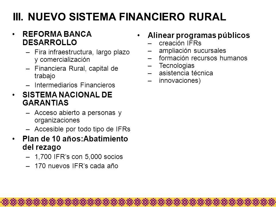 REFORMA BANCA DESARROLLO –Fira infraestructura, largo plazo y comercialización –Financiera Rural, capital de trabajo –Intermediarios Financieros SISTE