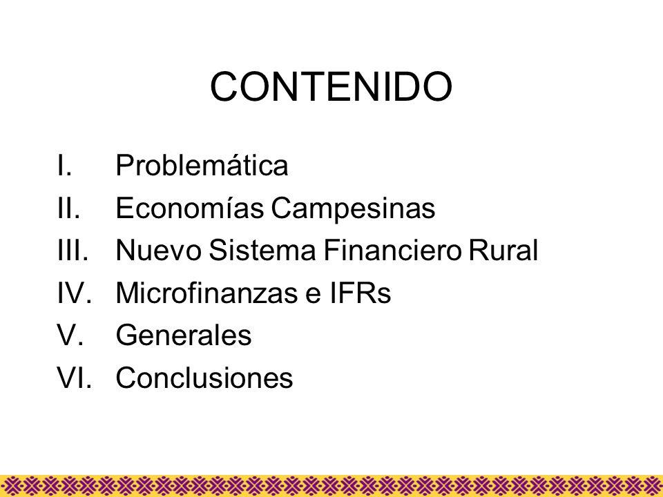 CONTENIDO I.Problemática II.Economías Campesinas III.Nuevo Sistema Financiero Rural IV.Microfinanzas e IFRs V.Generales VI.Conclusiones