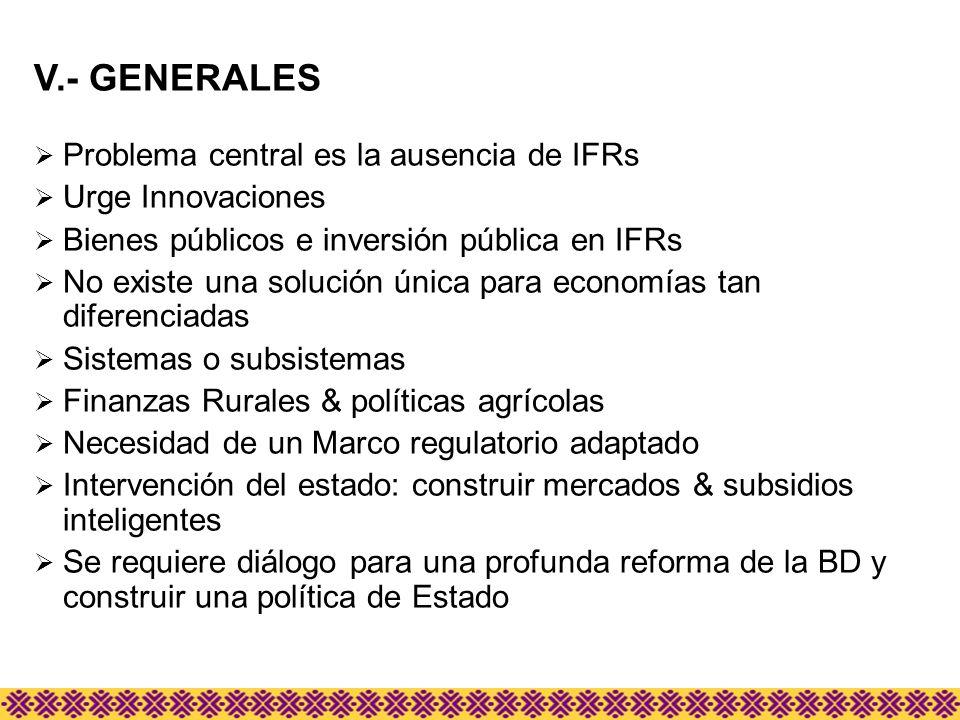 V.- GENERALES Problema central es la ausencia de IFRs Urge Innovaciones Bienes públicos e inversión pública en IFRs No existe una solución única para