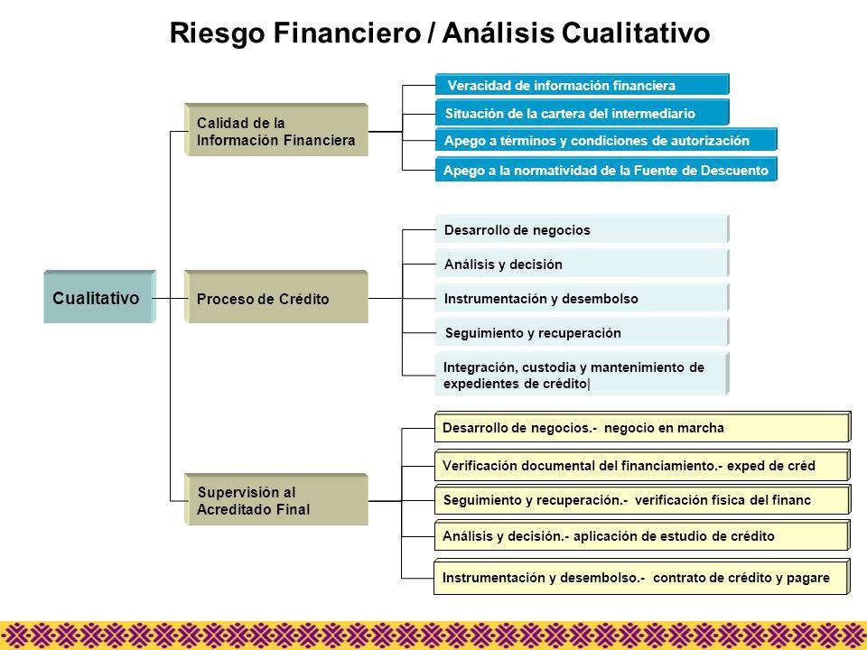 Riesgo Financiero / Análisis Cualitativo Cualitativo Supervisión al Acreditado Final Proceso de Crédito Calidad de la Información Financiera Veracidad