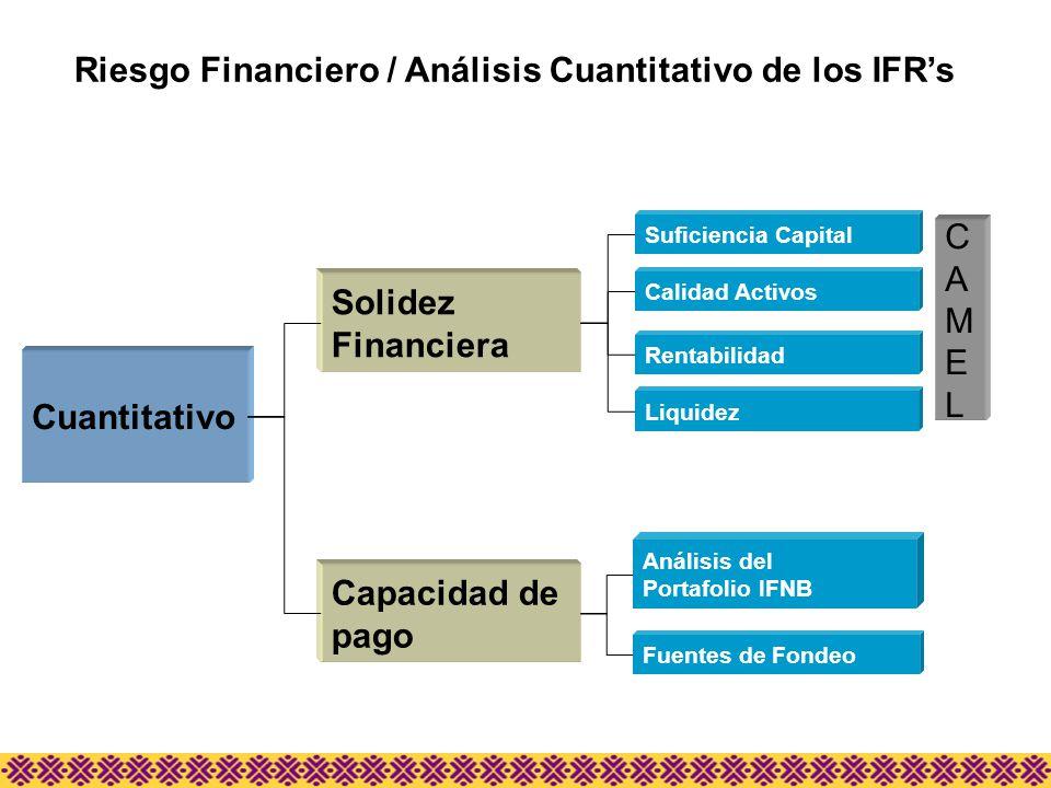 Riesgo Financiero / Análisis Cuantitativo de los IFRs Cuantitativo Solidez Financiera Capacidad de pago Suficiencia Capital Calidad Activos Rentabilid