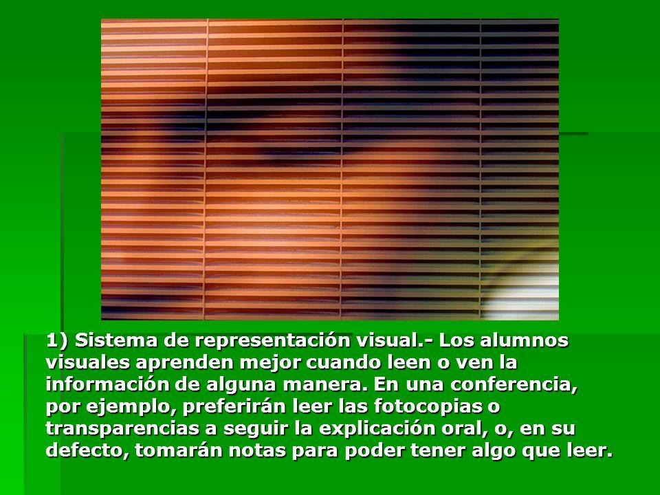 1) Sistema de representación visual.- Los alumnos visuales aprenden mejor cuando leen o ven la información de alguna manera. En una conferencia, por e