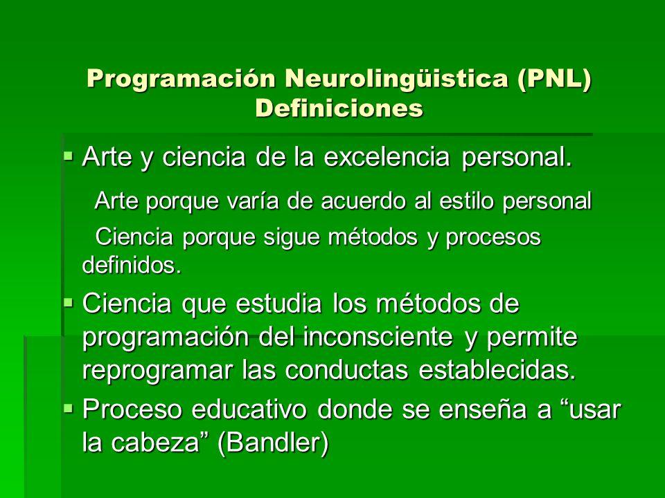 Programación Neurolingüistica (PNL) Definiciones Arte y ciencia de la excelencia personal. Arte y ciencia de la excelencia personal. Arte porque varía