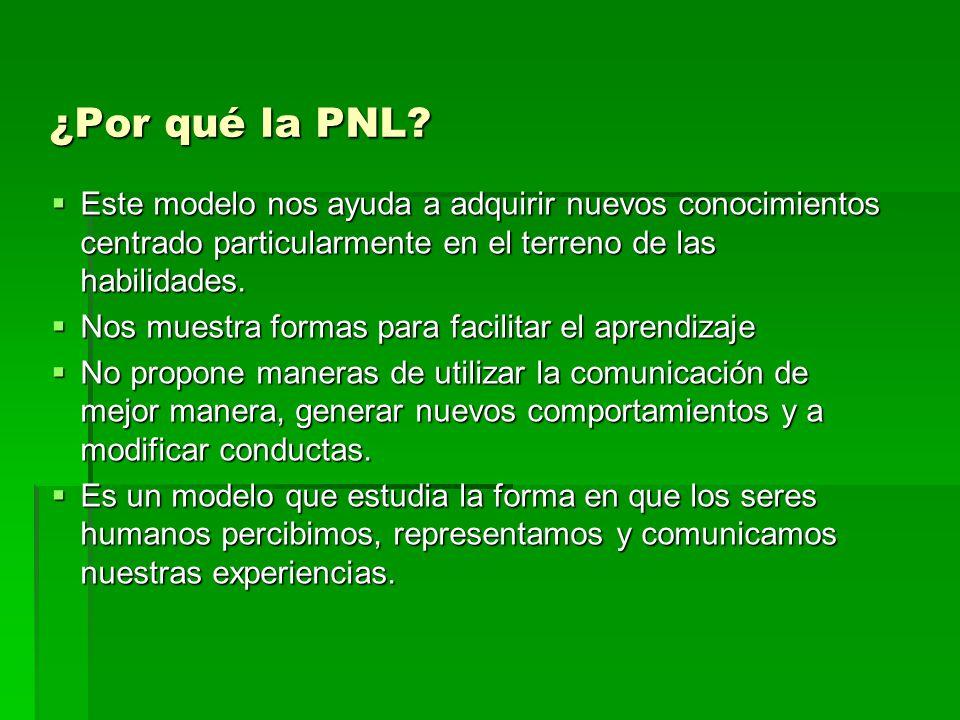 ¿Por qué la PNL? Este modelo nos ayuda a adquirir nuevos conocimientos centrado particularmente en el terreno de las habilidades. Este modelo nos ayud