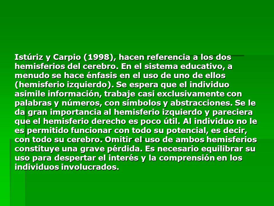 Istúriz y Carpio (1998), hacen referencia a los dos hemisferios del cerebro. En el sistema educativo, a menudo se hace énfasis en el uso de uno de ell