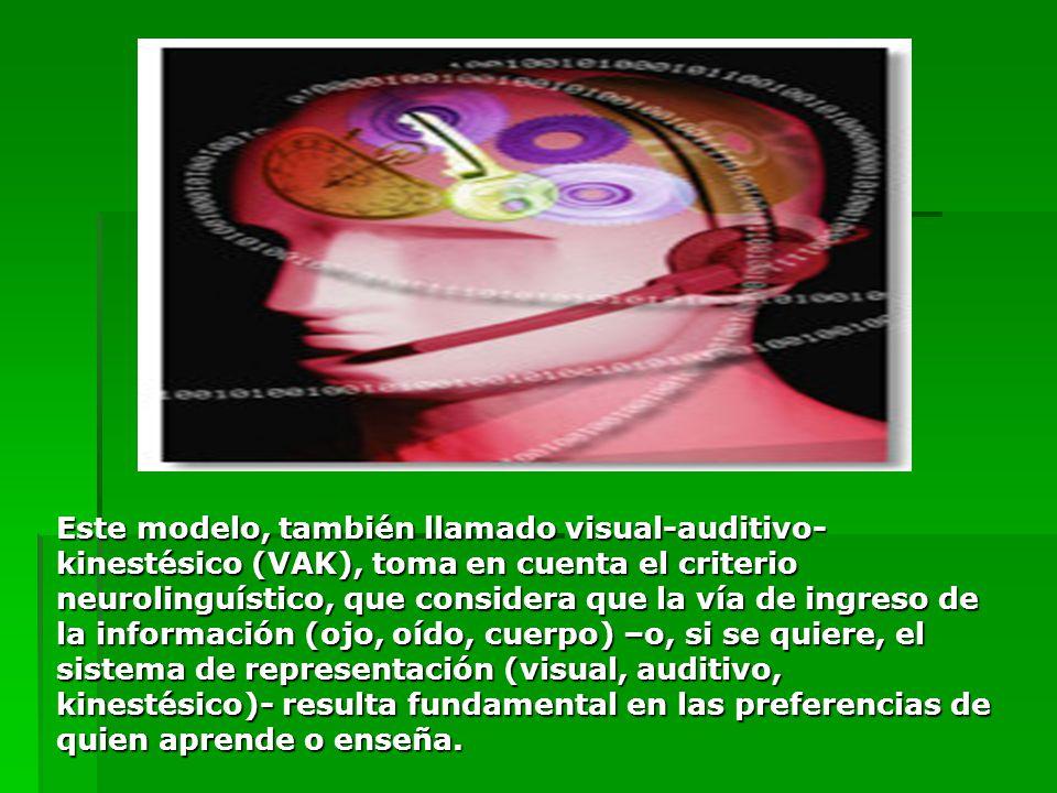 Este modelo, también llamado visual-auditivo- kinestésico (VAK), toma en cuenta el criterio neurolinguístico, que considera que la vía de ingreso de l